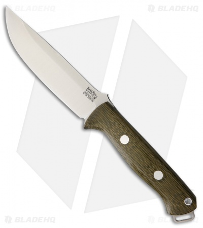 "Bark River Knives Bravo 1.25 Fixed Blade Knife Green Canvas Micarta (5"" S35VN)"