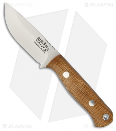 "Bark River Bravo Micro Fixed Blade Knife Natural Canvas Micarta (2.25"" Elmax)"