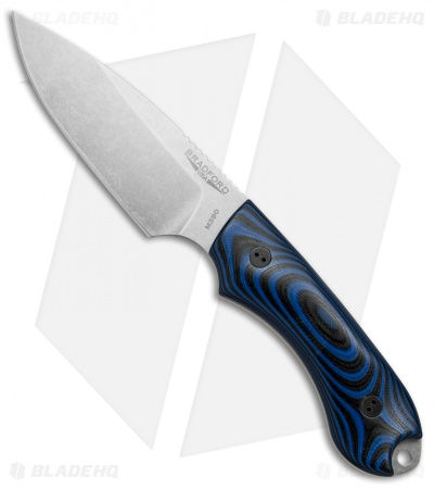 Bradford Knives Guardian4 Knife 3D Black/Blue G-10 (Sabre/M390/Stonewash)