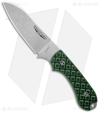 Bradford Knives Guardian3 Fixed Blade ToxicGreen/Black G-10 (Sheepsfoot/M390/SW)