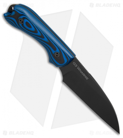 "Bradford Knives Guardian3 Wharncliffe Knife 3D Black/Blue G-10 (3.625"" Black)"