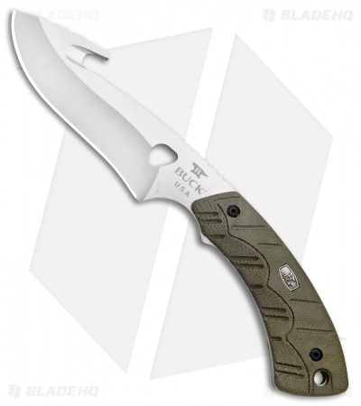 "Buck 537 Open Season Guthook Fixed Blade OD Green Micarta (4.5"" Satin) 0537ODG"