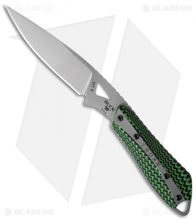"Buck Thorn Fixed Blade Knife Black/Green G-10 (3.25"" Bead Blast) 0017GRS"