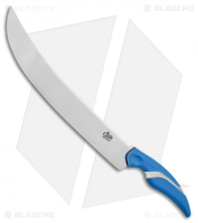 "Camillus Cuda Titan Curved Large Fixed Blade Knife Blue Polymer (12"" Mirror)"