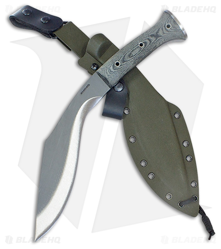 Condor K Tact Kukri Army Green Fixed Blade Gray Micarta 9