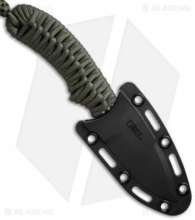 "CRKT Crawford Thunder Strike Neck Knife Green Paracord (2.8"" Black) 2032"