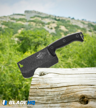 ESEE Knives Expat Cleaver Fixed Blade Knife Black G-10 (Black SW) CL-1