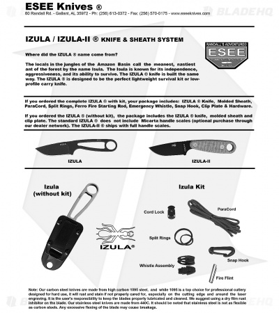 ESEE Knives Izula-II Tactical Gray Neck Knife + Sheath