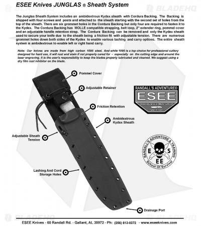 "ESEE Junglas Survival Fixed Blade Knife + Sheath (10.5"" Tactical Gray)"