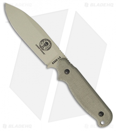 "ESEE Laser Strike Knife Fixed Survival Blade w/ Fire Starter (5"" Tan) LS-P-DT"
