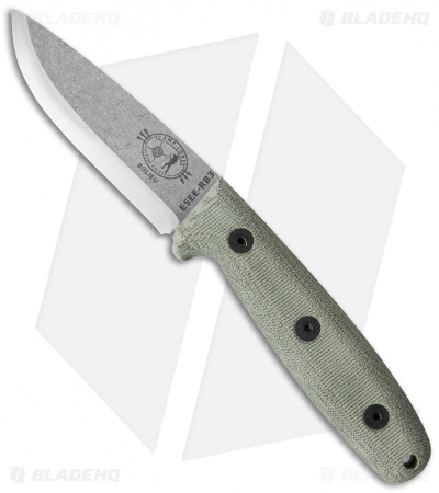 "ESEE Camp-Lore Bolieu RB3 Knife Bushcraft Micarta (3.5"" Stonewash)"
