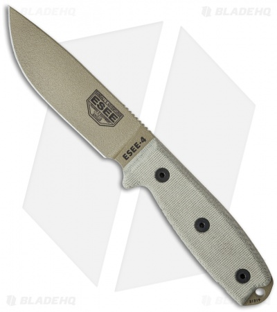 "ESEE Knives ESEE-4P-MB-DE Fixed Blade Knife + MOLLE Back (4.5"" Dark Earth)"