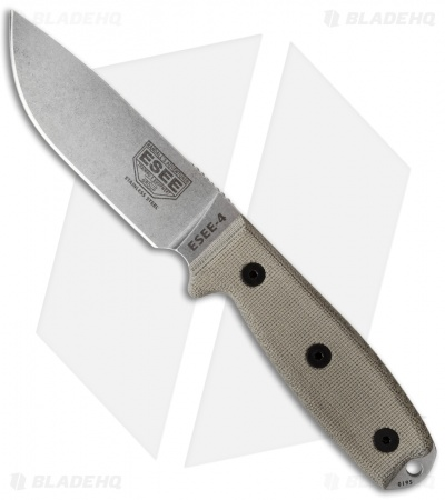 "ESEE Knives ESEE-4P-MB-SS Knife Micarta MOLLE Back (4.5"" 440C)"