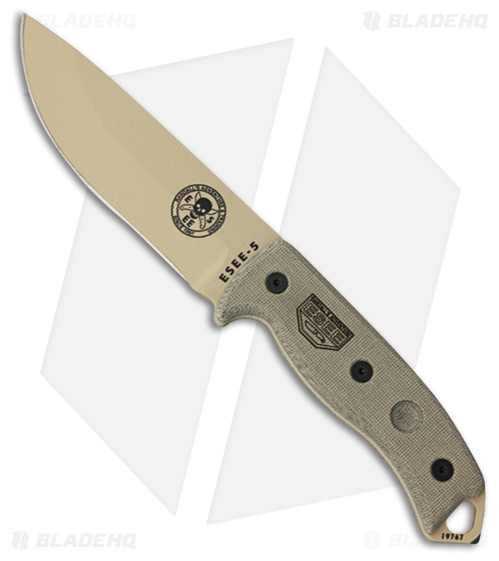 "Esee Knives Model 3 Plain Edge Desert Tan Blade Mic: ESEE-5 Survival Fixed Blade Knife W/ Sheath (5.25"" Desert"