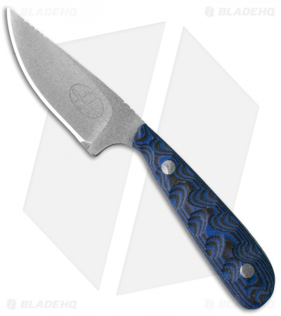 "Hazen Knives Small 1095 Series Fixed Blade Knife Blue (3"" Tumbled) 1BL"