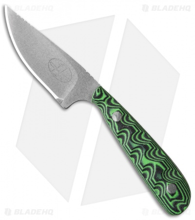 "Hazen Knives Small 1095 Series Fixed Blade Knife Green (3"" Tumbled) 1GR"