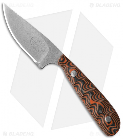 "Hazen Knives Small 1095 Series Fixed Blade Knife Orange (3"" Tumbled) 1OR"