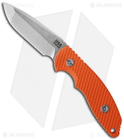 "Hinderer Knives FXM 3.5"" Fixed Blade Spanto Knife Orange"