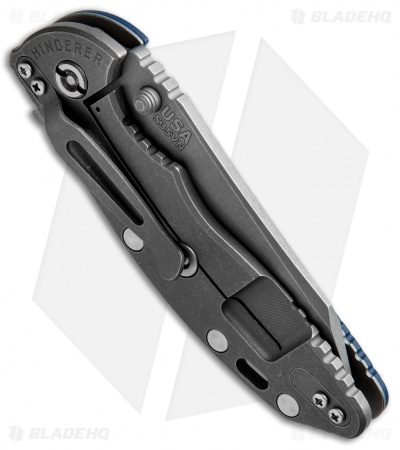"Hinderer XM-18 3.5 FATTY Wharncliffe Blue/Black (3.5"" Anthracite SW)"