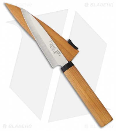 "Kanetsune Fruit Knife 3.625"" Cherry Wood KC075"