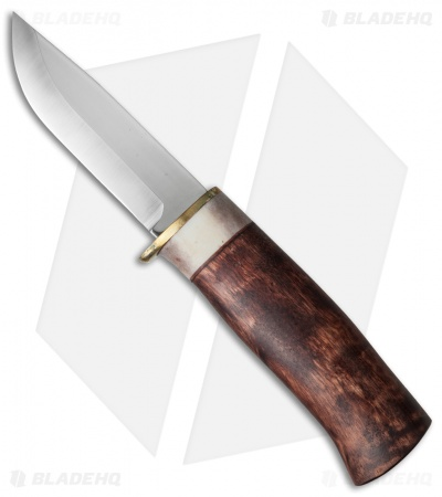 "Karesuando Kniven The Buck Fixed Blade Knife Curly Birch/Horn (3.25"" Satin)"