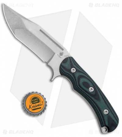 "Kizer Willumsen Super Bad Recurve Bowie Fixed Blk/Grn G-10 (4.75"" SW) Ki1015A2"