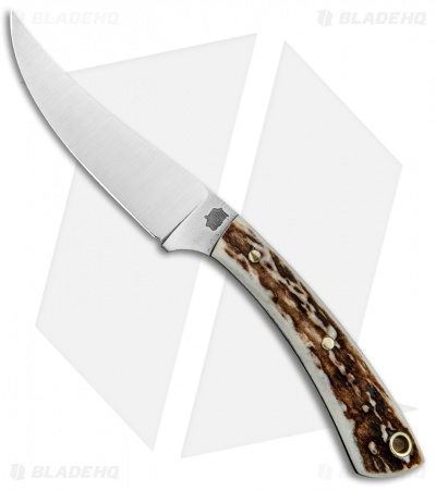 "L.T. Wright Small Swoop Trailing Point Fixed Blade Knife Stag (3.25"" Satin)"