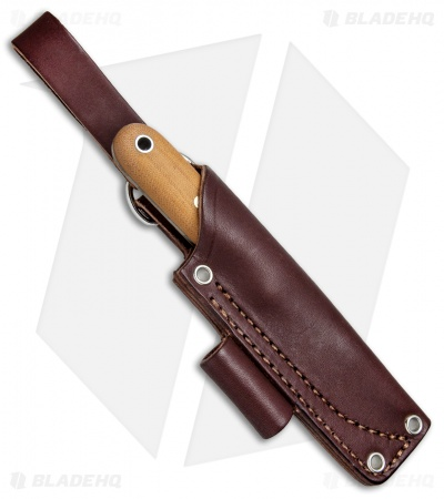 "LT Wright Bushbaby Fixed Blade Knife Matte Natural Micarta (3"" Black Patina)"