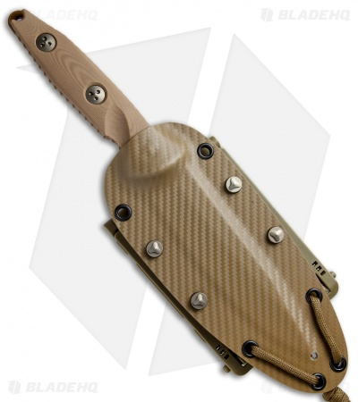 "Microtech Socom Alpha Fixed Blade Knife Tan G-10 (5"" Tan Serr) 113-2PVDTN"