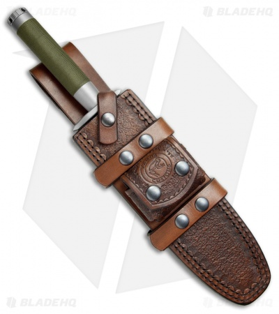 "Marfione Custom Interceptor L Survival Knife + Leather Sheath (9"" Hand Satin)"