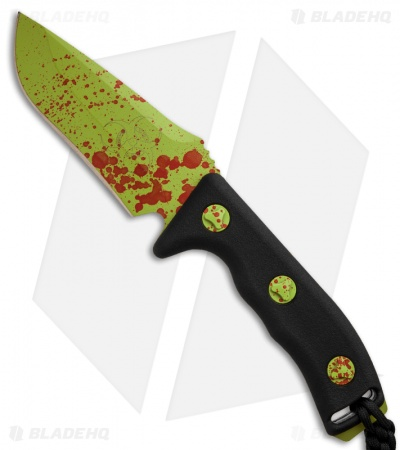 "Microtech Currahee Zombie Green Drop Point Knife Fixed Blade (4.5"" Plain) 102-1Z"