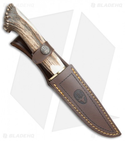 "Muela Hunter Fixed Blade Knife Crown Stag (4.25"" Satin)"