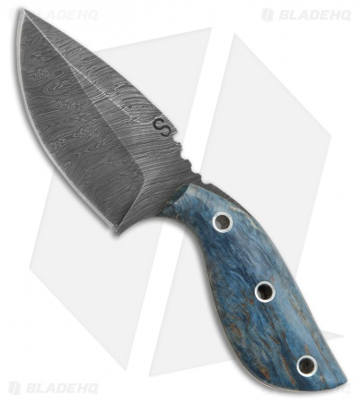 "Olamic Cutlery Listok Skinner Fixed Blade Knife Blue Birch (3.6"" Damascus) #4352"