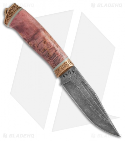 "Olamic Voykar HT4 Fixed Blade Knife Karelian Birch (6"" HCVD Damascus)"