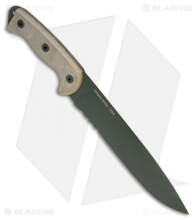 "Ontario RTAK-II Knife Fixed Blade Knife Micarta (10.5"" Green Serr) OKC 8670"