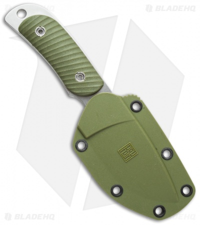 "Real Steel Knives Hunter 165 Fixed Blade Knife Green G-10 (2.625"" Stonewash)"