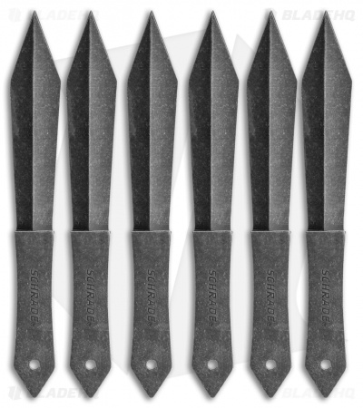 Schrade 6 Piece Throwing Knife Set w/ Nylon Sheath (Black Stonewash)