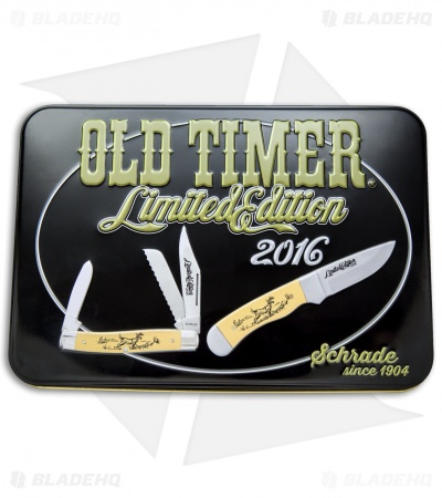 Schrade Old Timer 2016 Limited Edition Knife Gift Set Yellow Scrimshaw