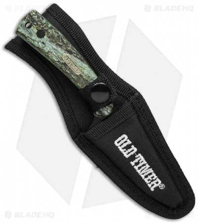 "Schrade Old Timer Sharpfinger Fixed Blade Hunting Knife Green Camo (3.25"" Black)"