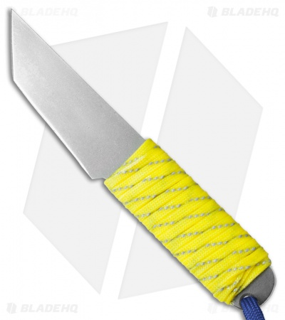"Snody Knives Custom Urban Tanto Fixed Blade Knife Neon Yellow (3"" Satin)"