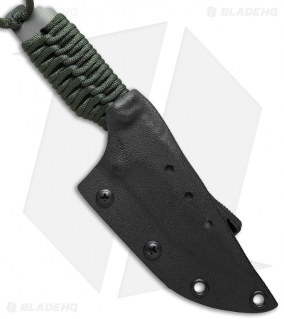 "Strider Knives PR Clip Point Fixed Blade Knife Green Cord (3.5"" Tiger Stripe)"