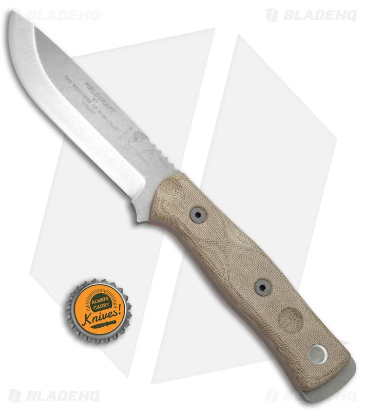 Tops Knives Bob Fieldcraft Knife Green Canvas Micarta 4