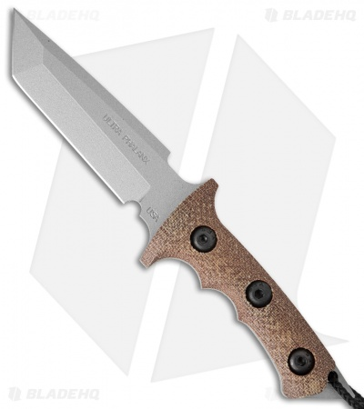 "Treeman Knives Mini Ultra Phalanx Neck Carry Knife Brown Micarta (3"" Silver)"