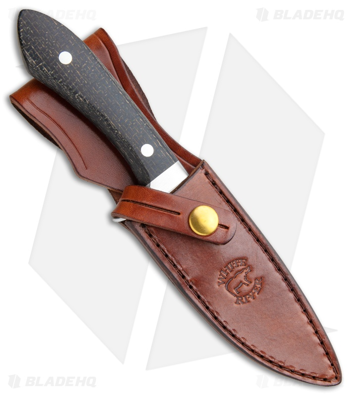 White River Knives Sendero Classic Knife Black Burlap Micarta