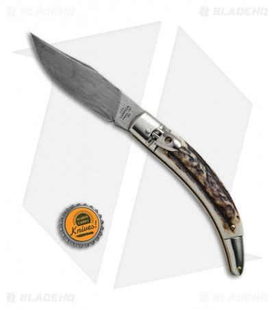 "AGA Campolin Diana Lever Lock Automatic Knife Stag Horn (3.75"" Damascus)"
