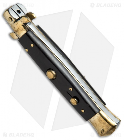 "AGA Campolin 10"" Italian Stiletto Picklock Automatic Brass/Ebony (4.5"" Bayonet)"