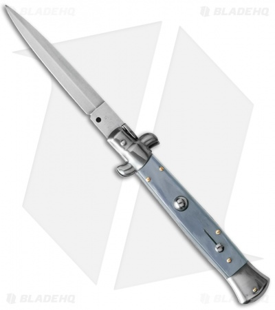"SKM 9"" Italian Stiletto Automatic Knife Light Blue Pearlex (4"" Satin Dagger)"