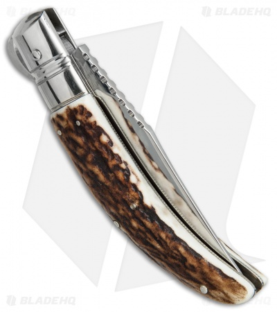 "Lepre 9"" Sicilian Picklock Automatic Knife Stag Horn (3.7"" Polish)"