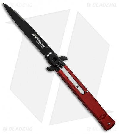 "AKC Leverletto  9"" Lever Lock  Automatic Italian Knife Red (4"" Black Flat)"