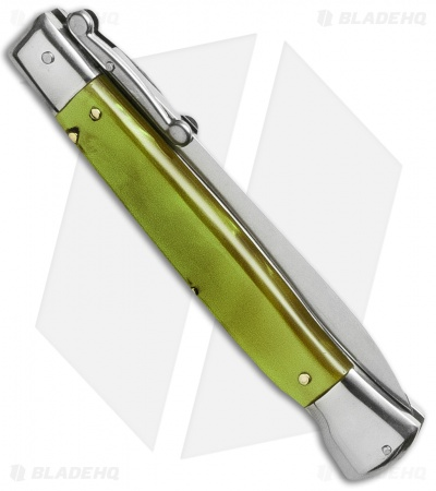 "AKC Swinguard 9"" Automatic Italian Stiletto Green Pearlex (4"" Satin Dagger)"
